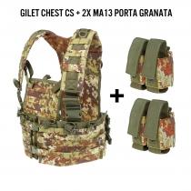 Gilet modulare chest CS Vegetato + 2 porta granate
