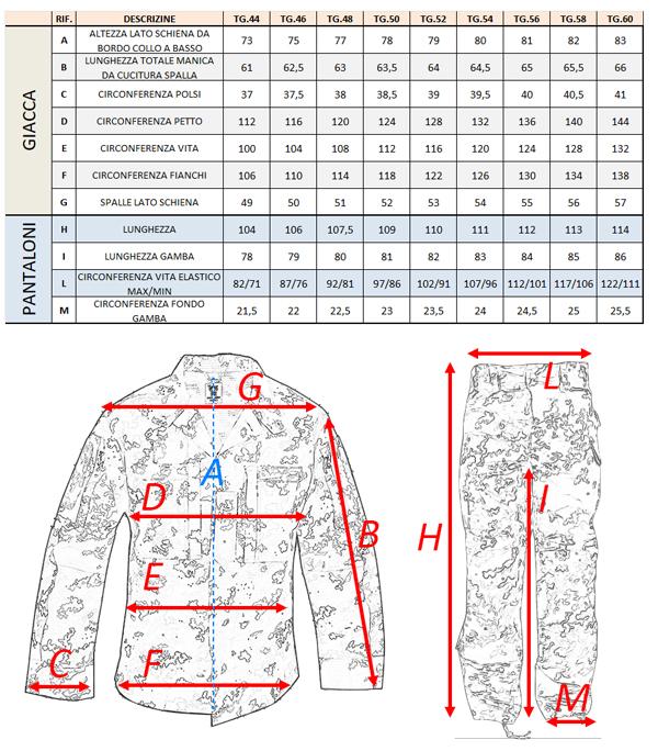 tabella taglie uniforme